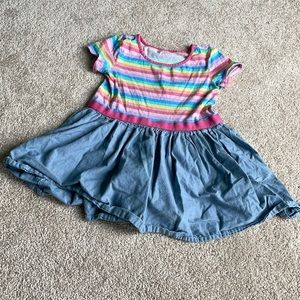 Rainbow Dress with Chambray Skirt 4T